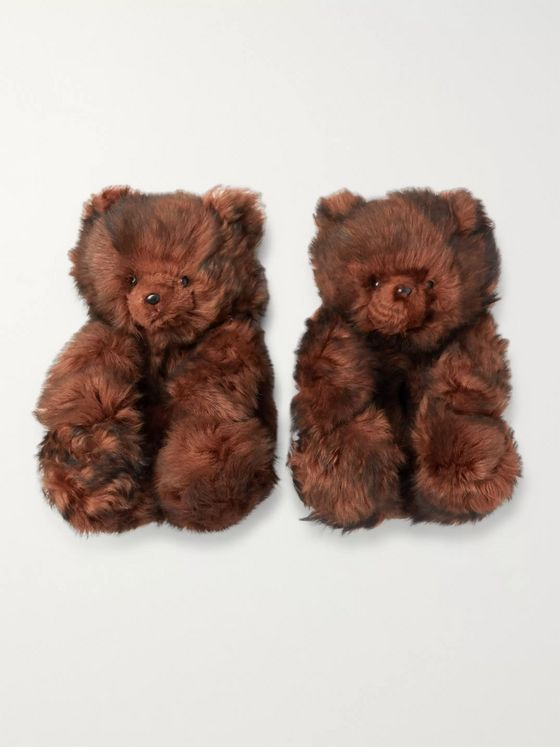 Vetements Hug Me Bear Shearling Slippers