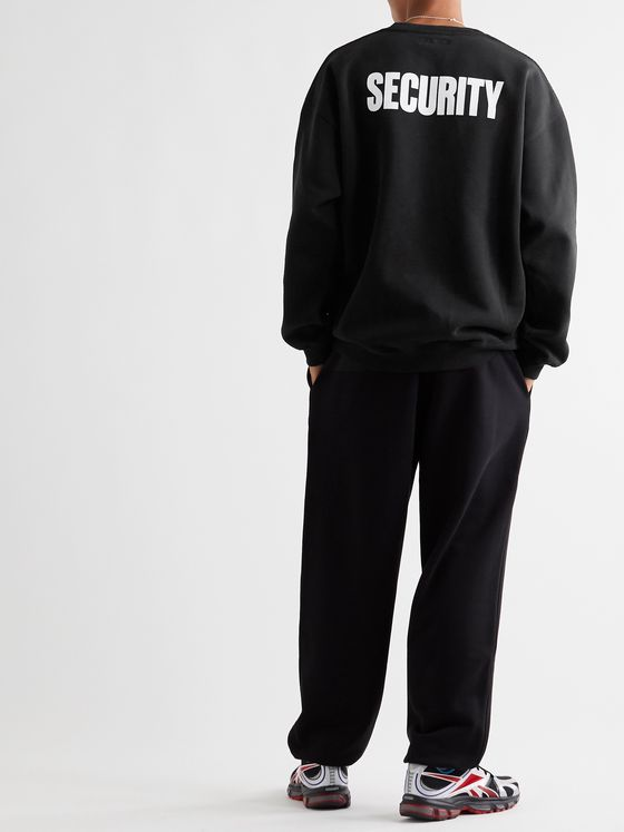 Vetements Printed Fleece-Back Cotton-Blend Jersey Hoodie