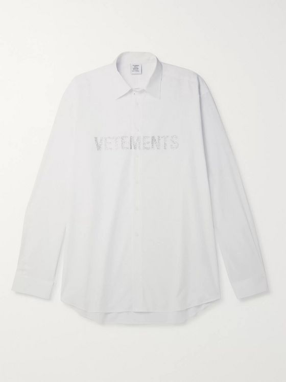 Vetements Oversized Glittered Logo-Print Cotton-Poplin Shirt