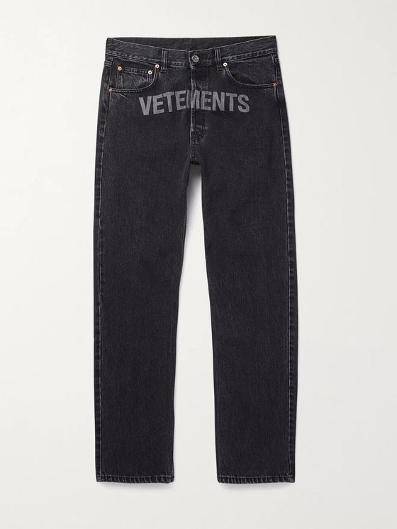 Vetements Logo-Detailed Denim Jeans
