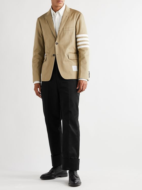 THOM BROWNE Grosgrain-Trimmed Cotton-Twill Trousers