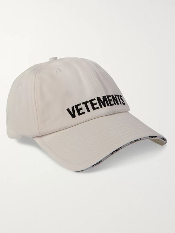 Vetements Logo-Embroidered Cotton-Twill Baseball Cap