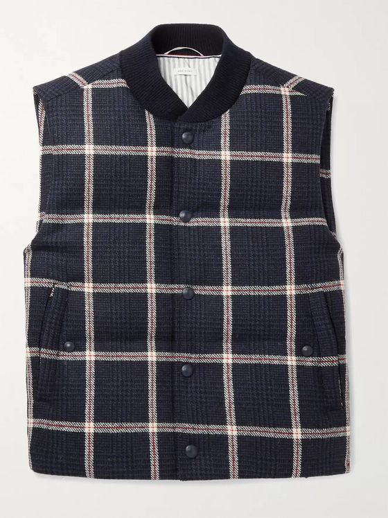 THOM BROWNE Slim-Fit Quilted Prince of Wales Checked Wool-Tweed Down Gilet