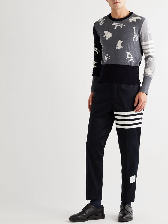 Thom Browne Striped Intarsia Merino Wool Sweater