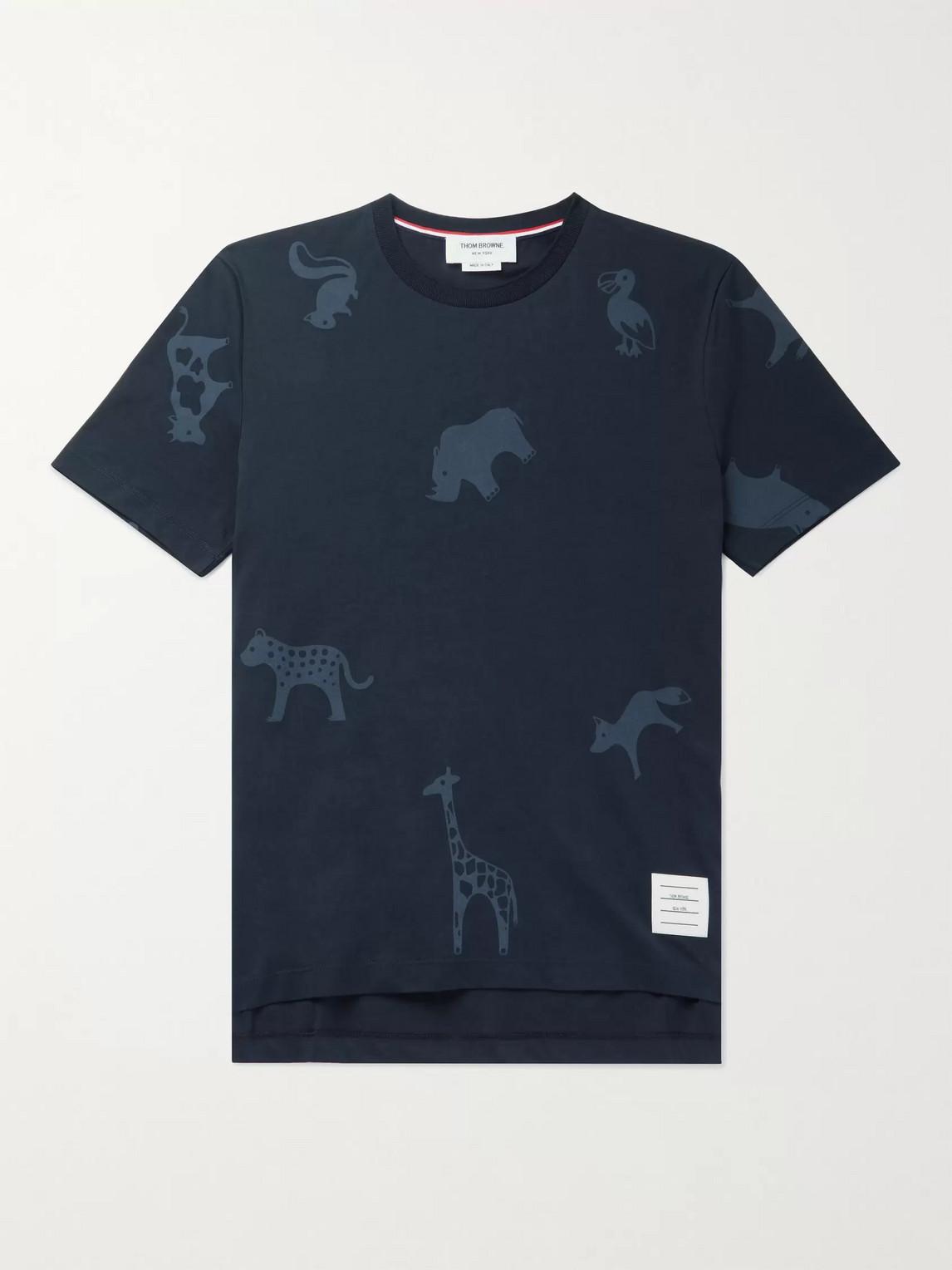 thom browne - printed cotton-jersey t-shirt - men - blue