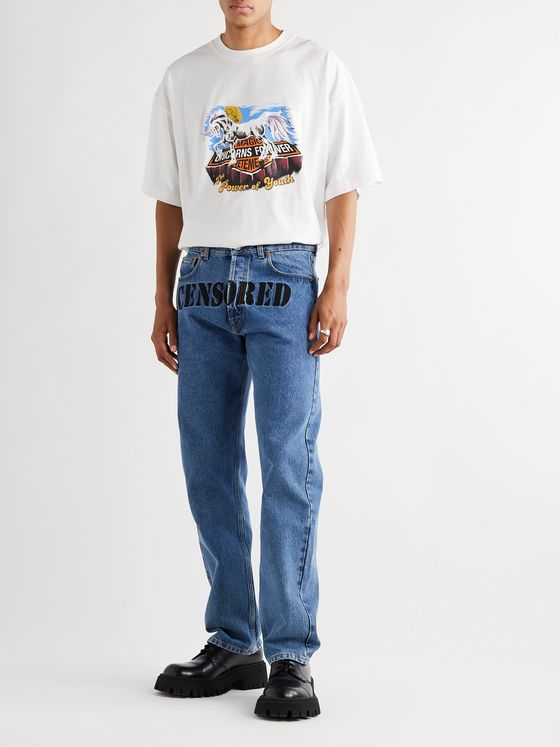 Vetements Embroidered Denim Jeans