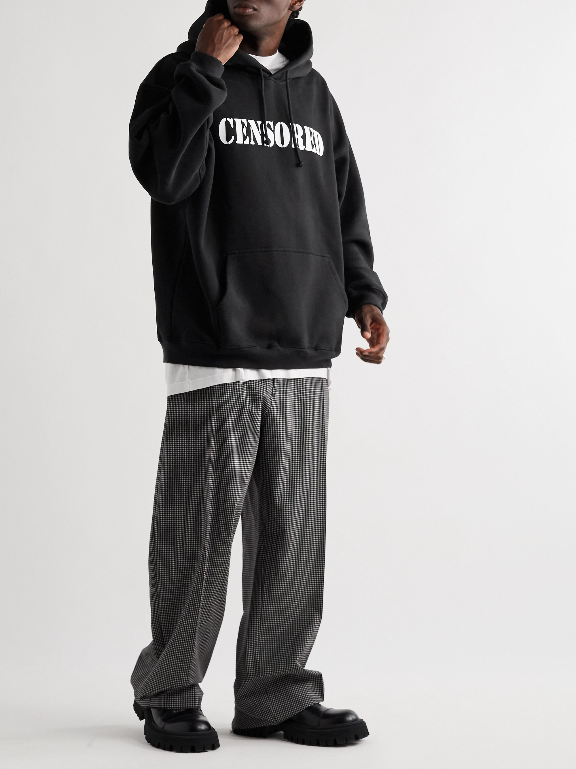 Vetements Oversized Printed Fleece-Back Cotton-Blend Jersey Hoodie