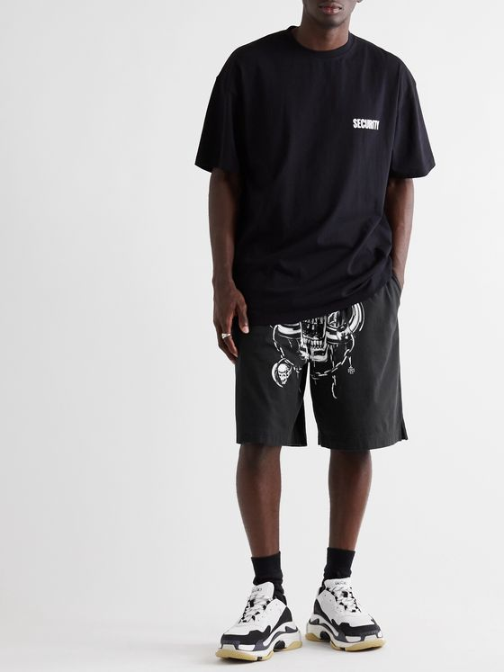 Vetements + Motörhead Wide-Leg Printed Cotton-Jersey Shorts