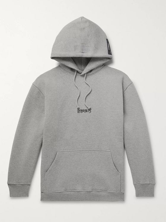 Vetements Oversized Logo-Print Appliquéd Fleece-Back Cotton-Blend Jersey Hoodie