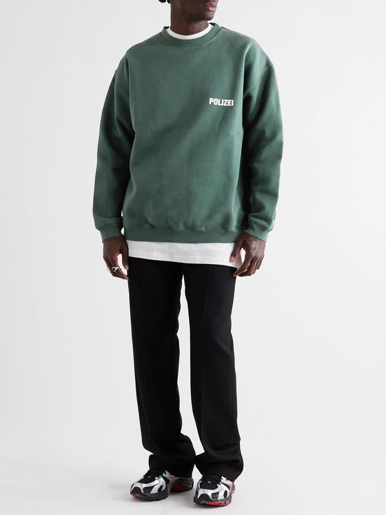Vetements Oversized Logo-Print Fleece-Back Cotton-Blend Jersey Sweatshirt