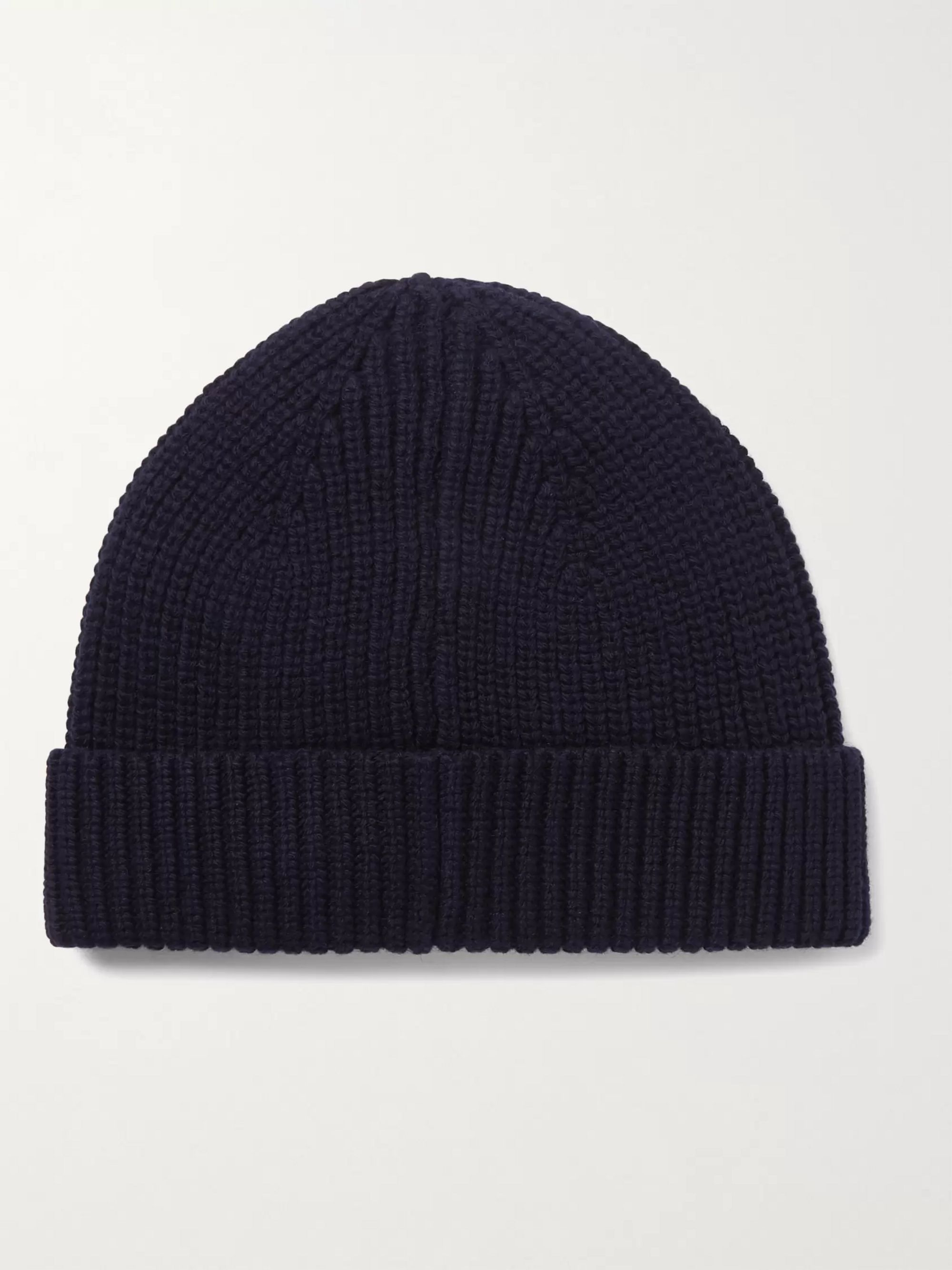 A.P.C. Samuel Logo-Appliquéd Ribbed Merino Wool and Cashmere-Blend Beanie