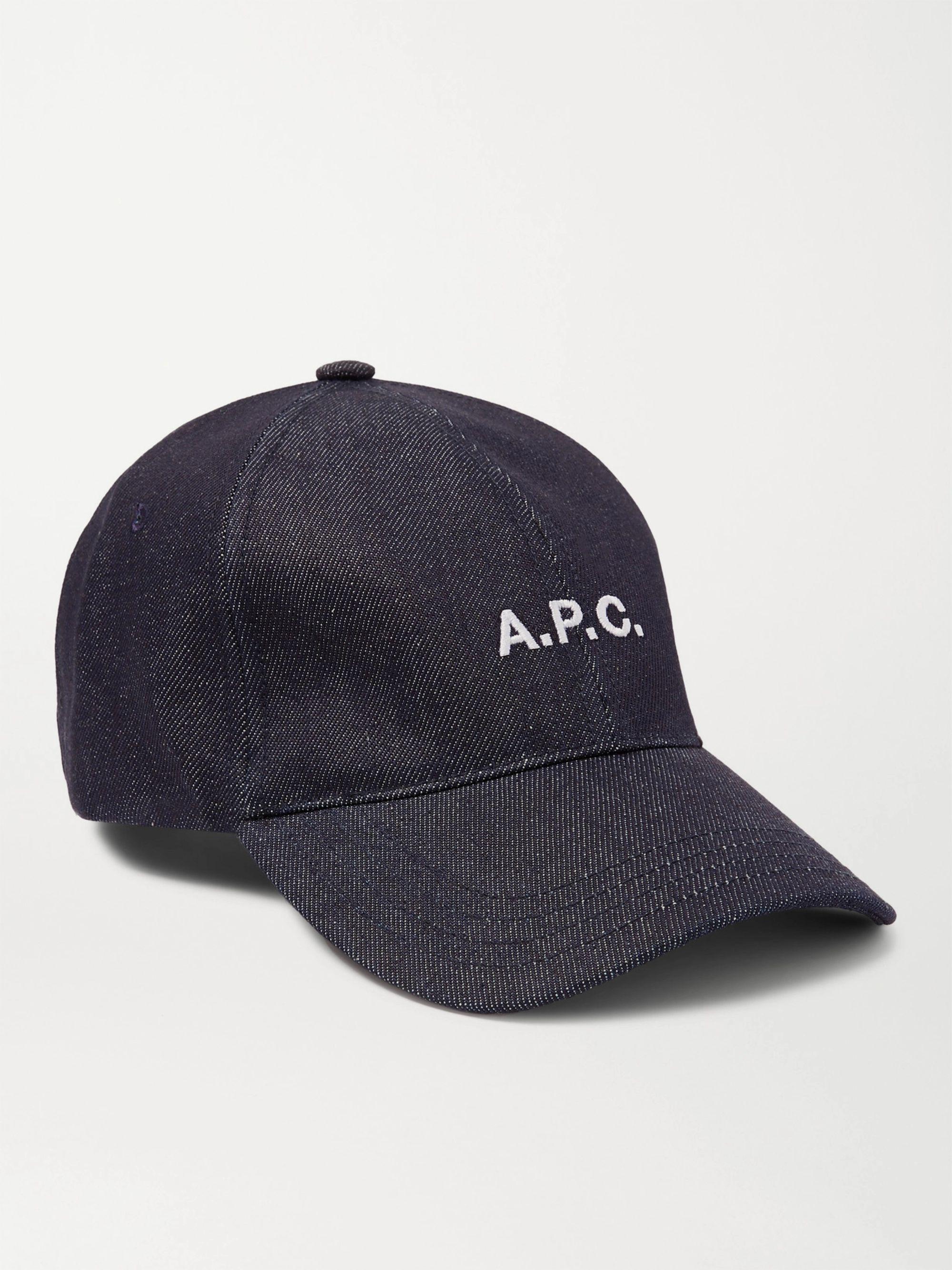 아페쎄 볼캡 모자 A.P.C. Logo-Embroidered Denim Baseball Cap,Blue