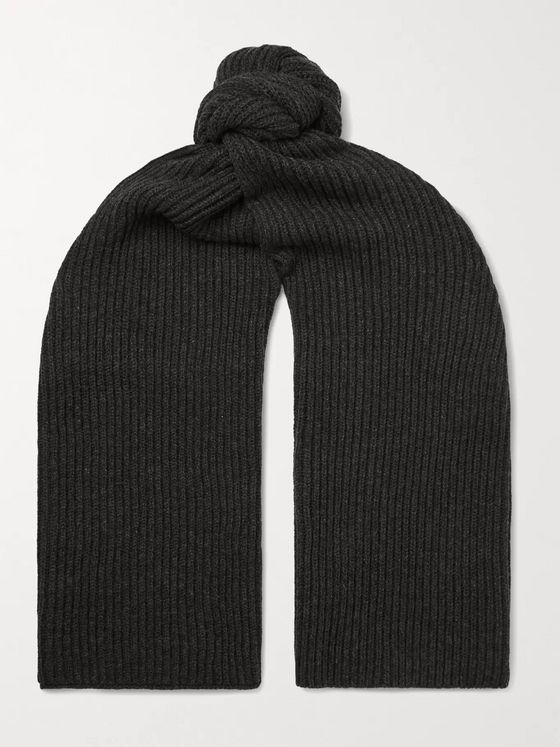 A.P.C. Ribbed Mélange Merino Wool and Cashmere-Blend Scarf