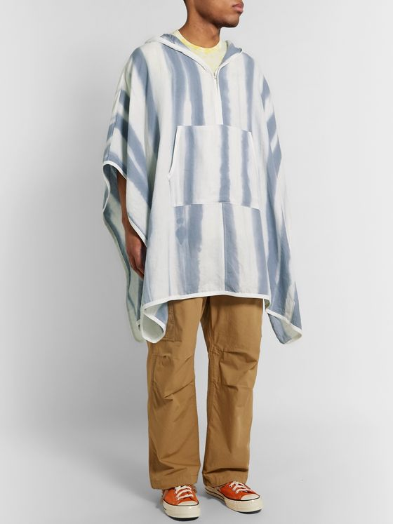 JAMES PERSE Striped Linen Hooded Poncho