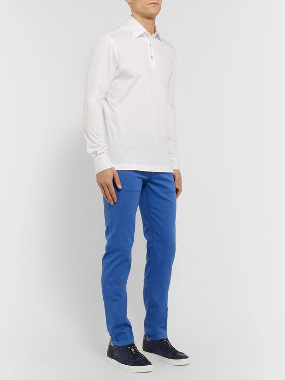 KITON Blue Slim-Fit Cotton-Blend Twill Trousers