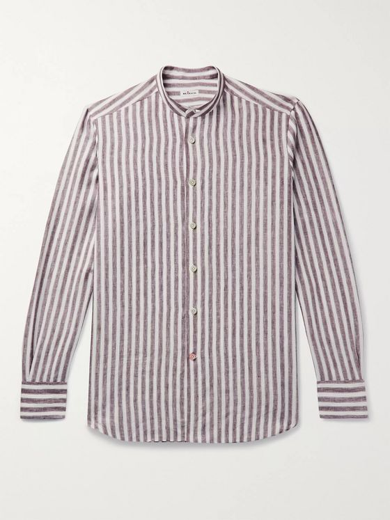 KITON Grandad-Collar Striped Linen Shirt