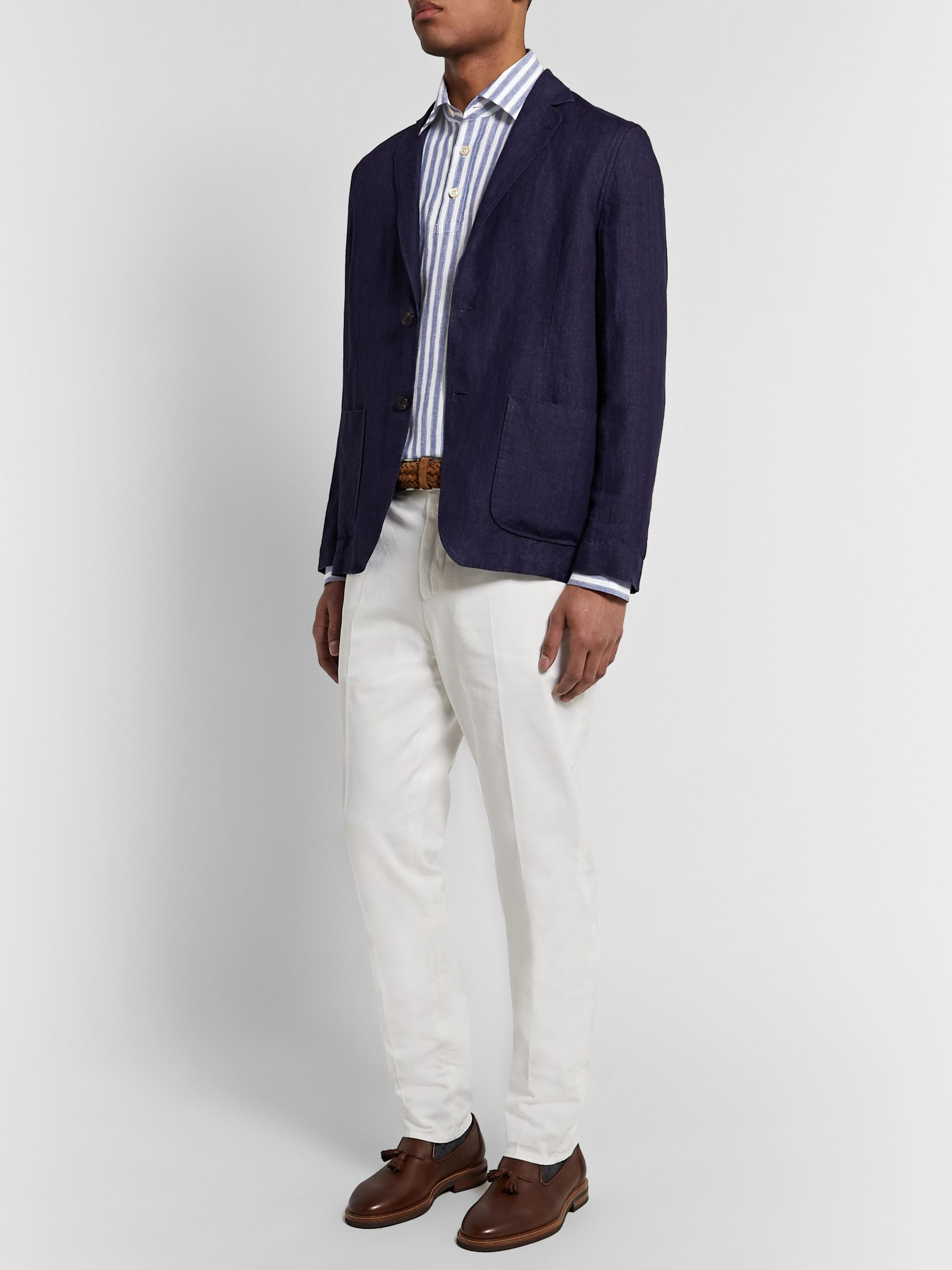 KITON Striped Linen Half-Placket Shirt