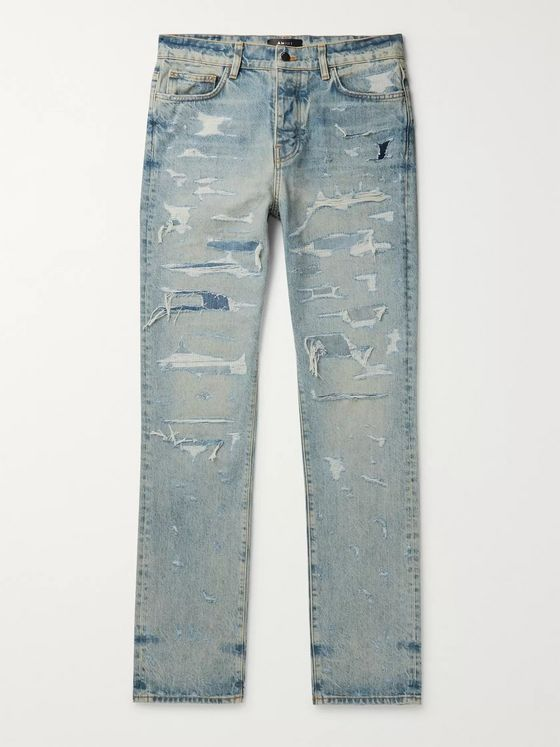 AMIRI Slim-Fit Distressed Embroidered Denim Jeans