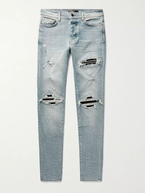 AMIRI MX1 Ultra Skinny-Fit Distressed Panelled Stretch-Denim Jeans