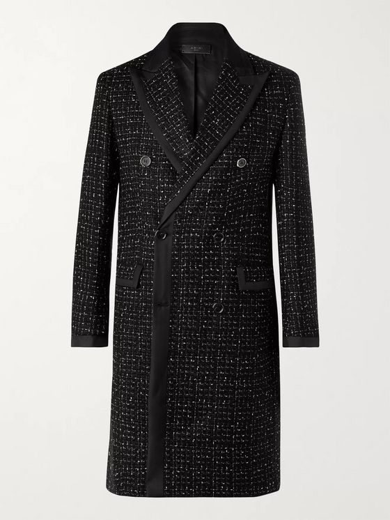 AMIRI Double-Breasted Silk Twill-Trimmed Bouclé Coat