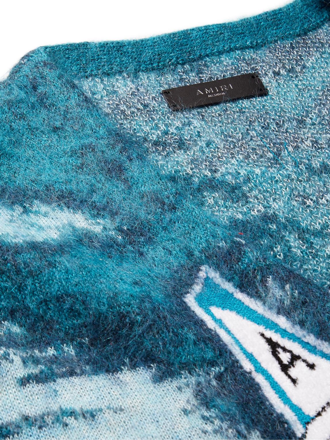 AMIRI Cardigans AEROPLANE-INTARSIA MOHAIR-BLEND CARDIGAN