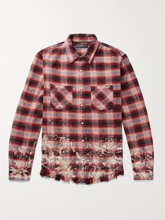 AMIRI Distressed Checked Cotton-Flannel Shirt