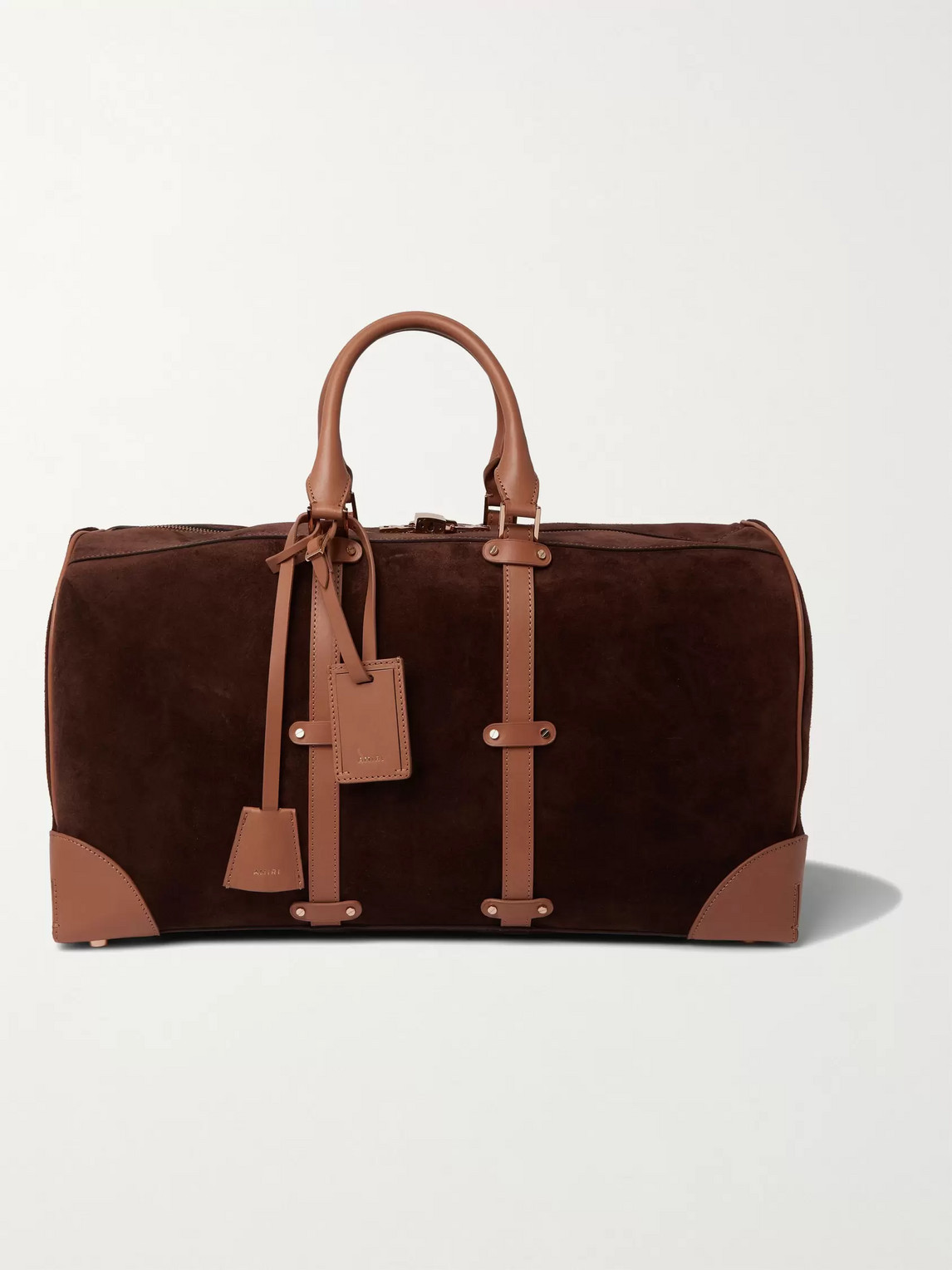 Amiri Faux Suede And Leather Holdall In Brown