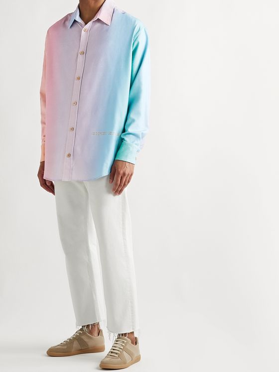 THE ELDER STATESMAN Printed Slub Silk Shirt