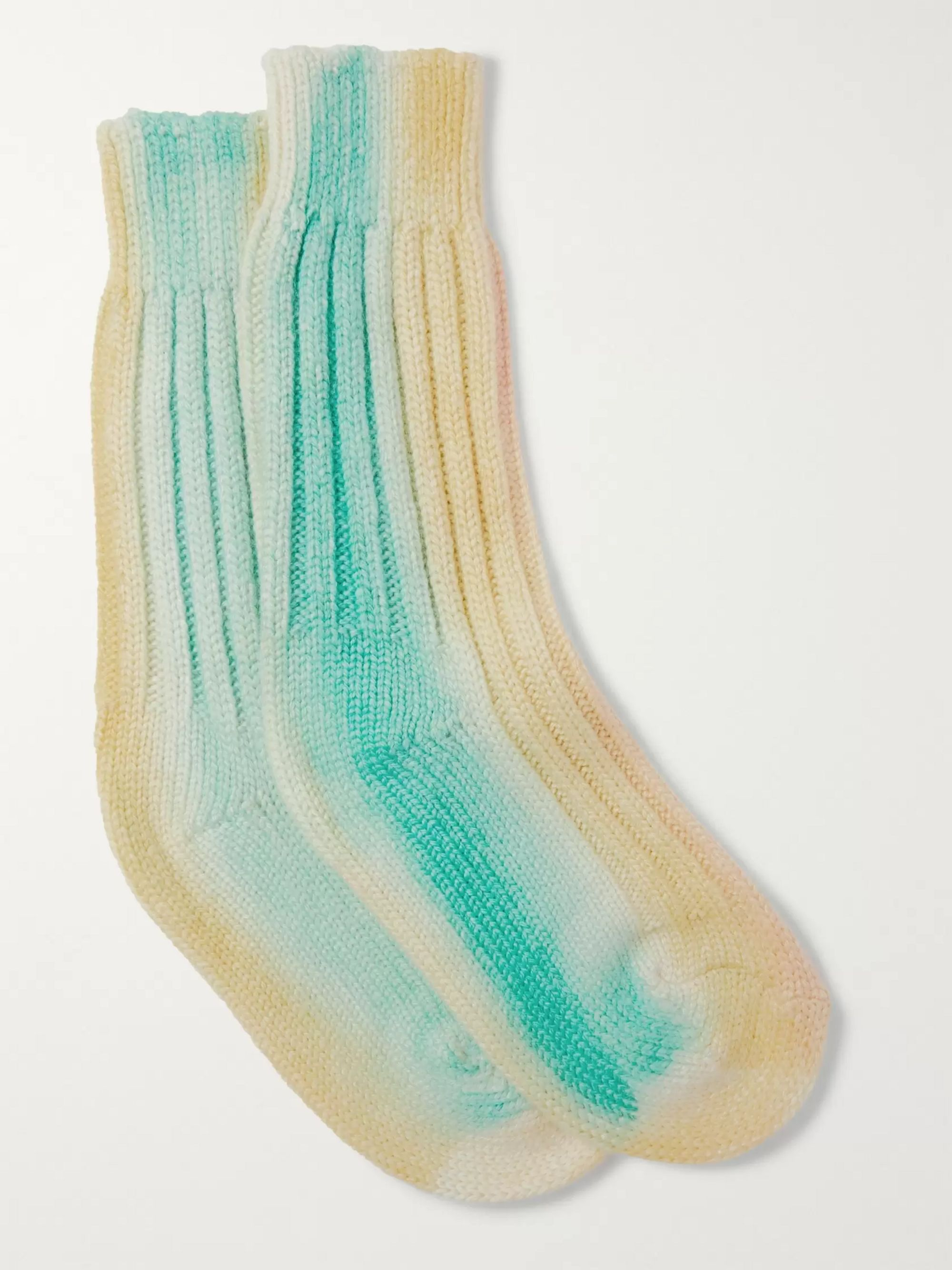 The Elder Statesman Yosemite Tie-Dyed Cashmere Socks