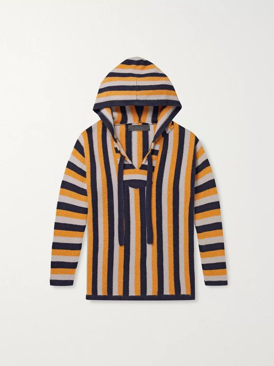 The Elder Statesman Striped Cashmere Hoodie
