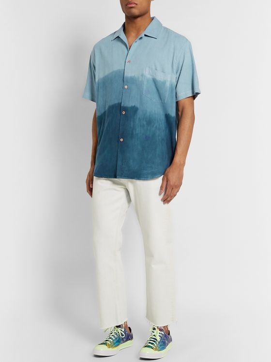 THE ELDER STATESMAN Camp-Collar Dégradé Nep Silk Shirt