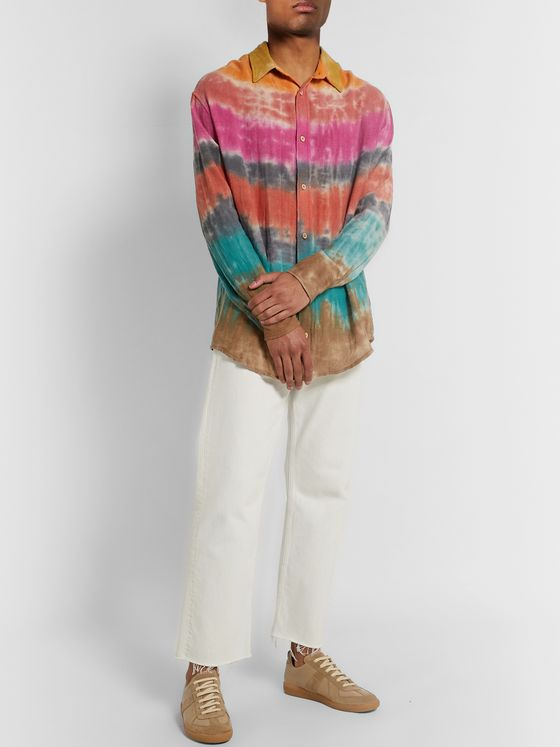 The Elder Statesman Wacky Boomslang Tie-Dyed Wool, Cashmere and Cotton-Blend Shirt