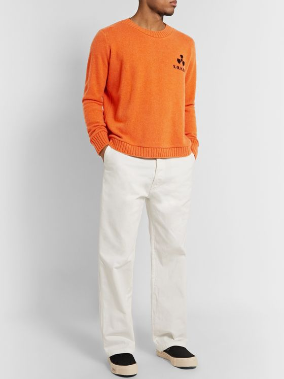 The Elder Statesman Total Meltdown Intarsia Cashmere Sweater
