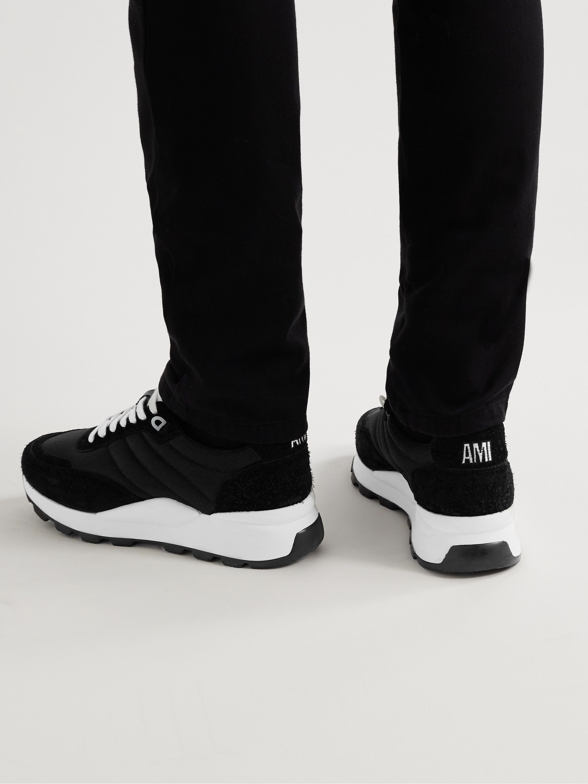 AMI Spring Low Suede-Trimmed Shell Sneakers