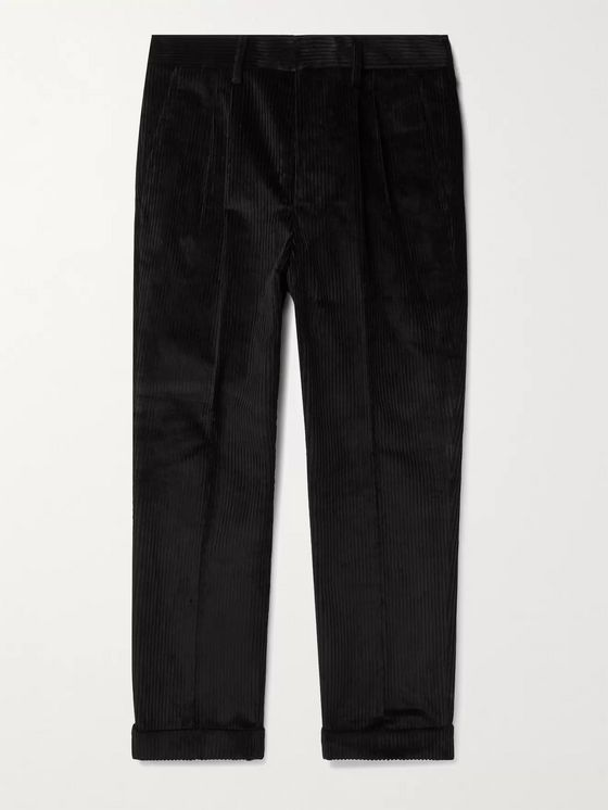 AMI PARIS Tapered Pleated Cotton-Corduroy Trousers