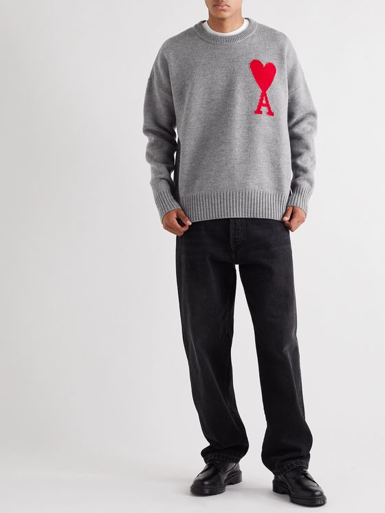 AMI PARIS Oversized Logo-Intarsia Virgin Wool Sweater