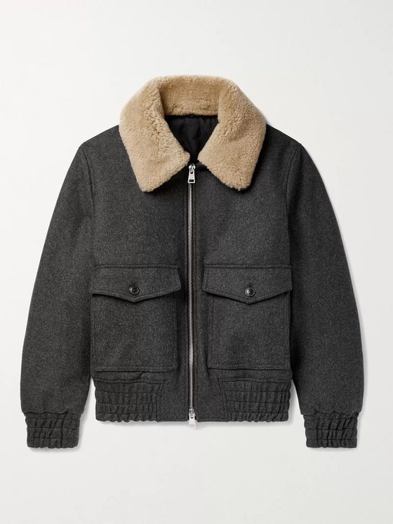 AMI PARIS Slim-Fit Shearling-Trimmed Wool-Blend Bomber Jacket