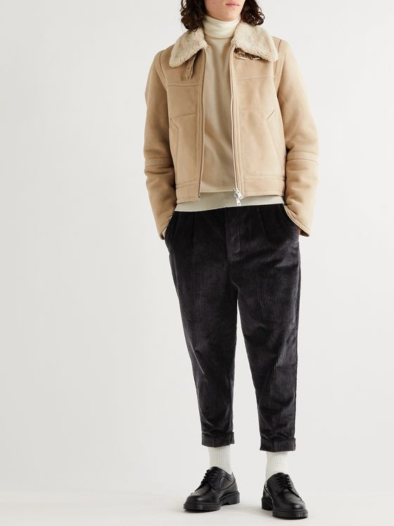 AMI Cropped Tapered Cotton-Corduroy Trousers