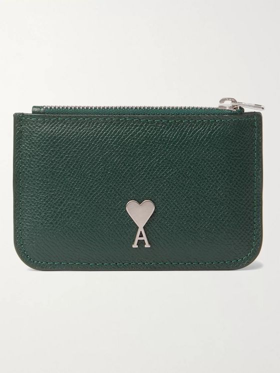 AMI Logo-Detailed Full-Grain Leather Zipped Cardholder
