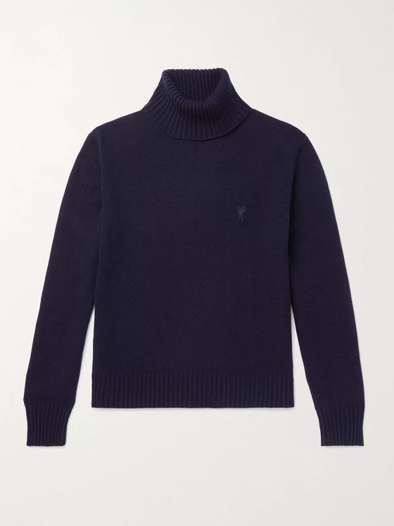 AMI Logo-Embroidered Cashmere Rollneck Sweater