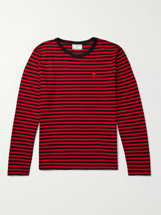 AMI PARIS Logo-Appliquéd Striped Cotton-Jersey T-Shirt
