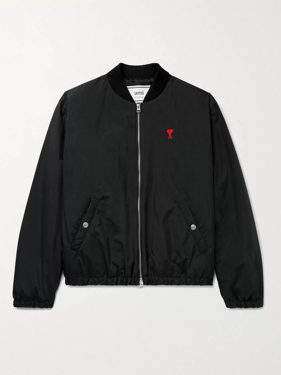 AMI PARIS Logo-Embroidered Nylon Bomber Jacket