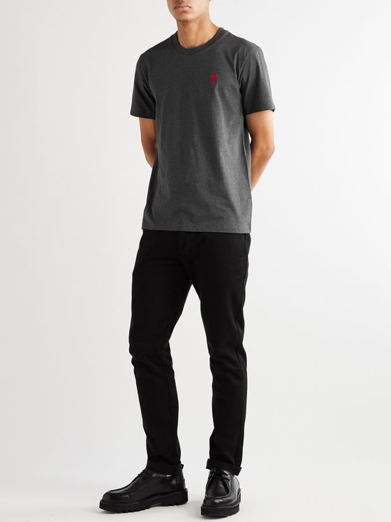 AMI Logo-Embroidered Mélange Cotton-Jersey T-Shirt