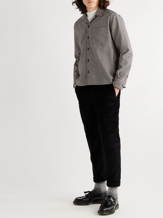 AMI PARIS Camp-Collar Checked Wool-Blend Shirt