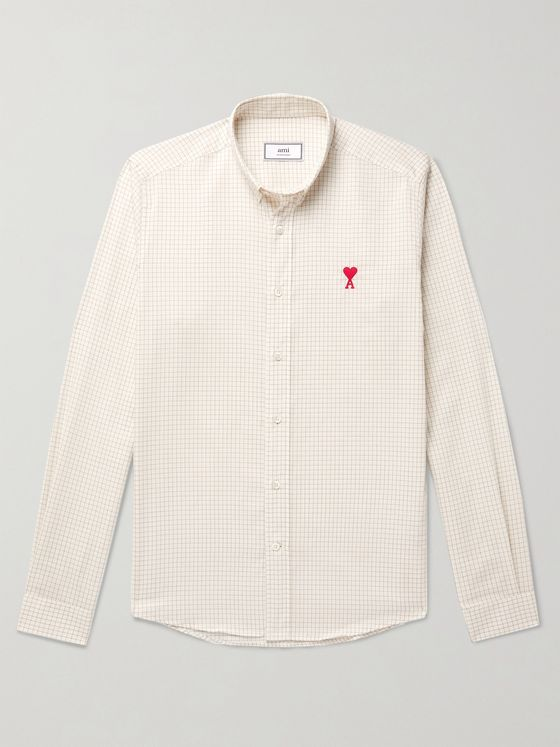 AMI PARIS Button-Down Collar Slim-Fit Logo-Embroidered Checked Cotton and Wool-Blend Shirt