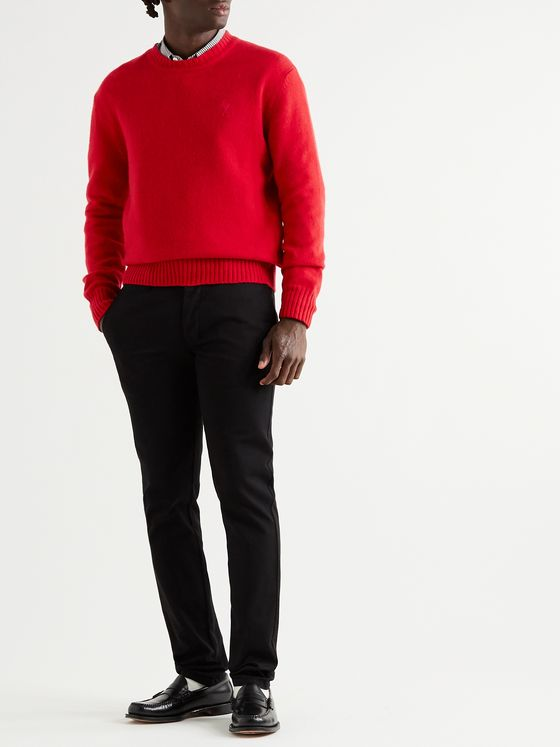 AMI Logo-Embroidered Cashmere Sweater