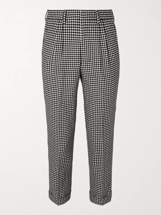 AMI Slim-Fit Tapered Pleated Checked Wool-Blend Trousers