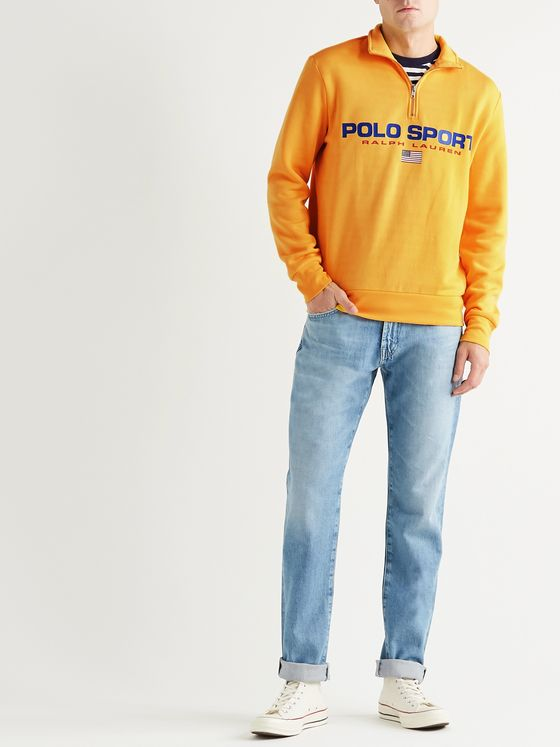 POLO RALPH LAUREN Logo-Print Fleece-Back Jersey Half-Zip Sweatshirt