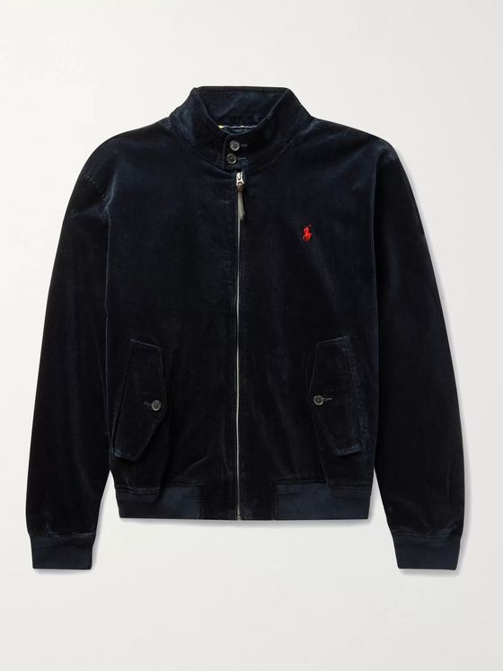 POLO RALPH LAUREN Logo-Embroidered Cotton-Blend Corduroy Harrington Jacket