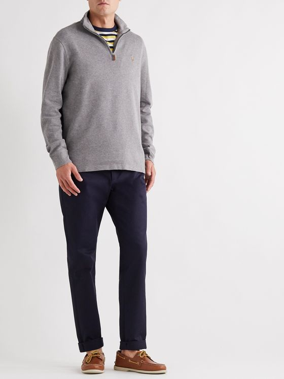 Polo Ralph Lauren Mélange Cotton-Jersey Half-Zip Sweater